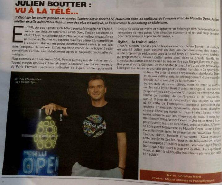 Artcile de presse sur Julien Boutter