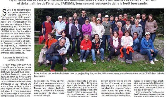 Image d'un article de journal représentant la société ADEME lors d'un séminaire organisé par Hyfen