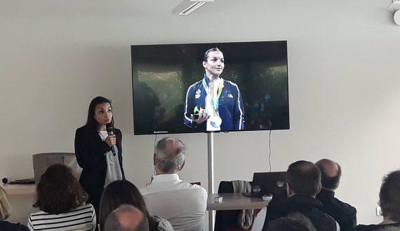 Sarah Ourahmoune, qui intervient en tant que conférencière sportive durant le séminaire Batigère